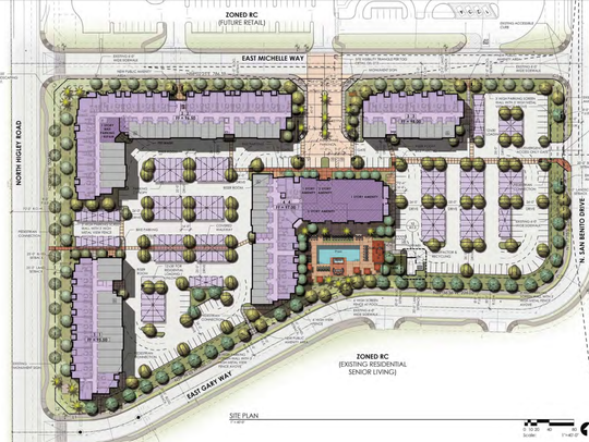 A map of the proposed City Gate Apartments in Gilbert