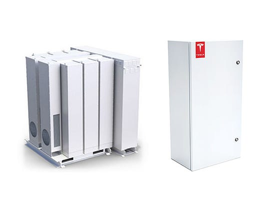 Here are examples of the Tesla storage batteries for business (left) and homes (right) used by SolarCity as part of a pilot program.