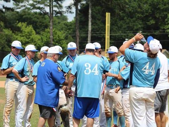 Wes Singletary and Doug Treadway talk to their American Legion Post 13 baseball club.