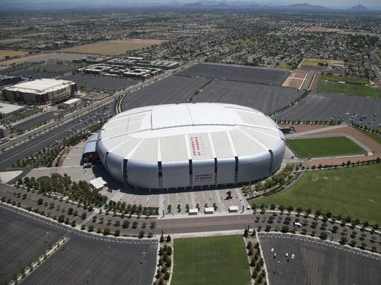 An aerial view of University of Phoenix Stadium in