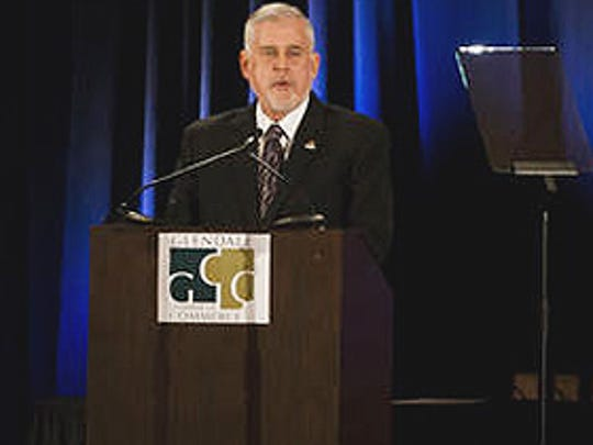 Glendale Mayor Jerry Weiers delivers the State of the City Address at Renaissance Glendale Hotel & Spa on Thursday, February 27, 2014 in Glendale, Arizona.