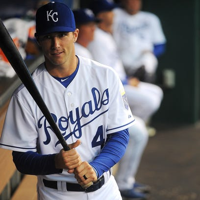 Kansas City's Dusty Coleman (43), a Sioux Falls native, in the dugout before a game against Tampa Bay on Tuesday, July 7, 2015, at Kauffman Stadium in Kansas City, Mo. Kansas city beat Tampa Bay 7 to 1.