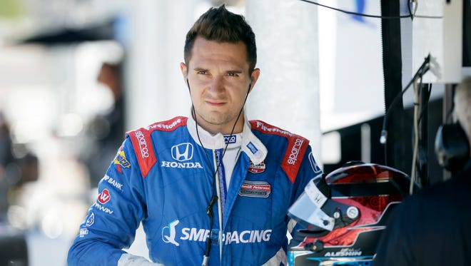 IndyCar driver Mikhail Aleshin was injured during a practice crash on Aug. 29 in Fontana, Calif.