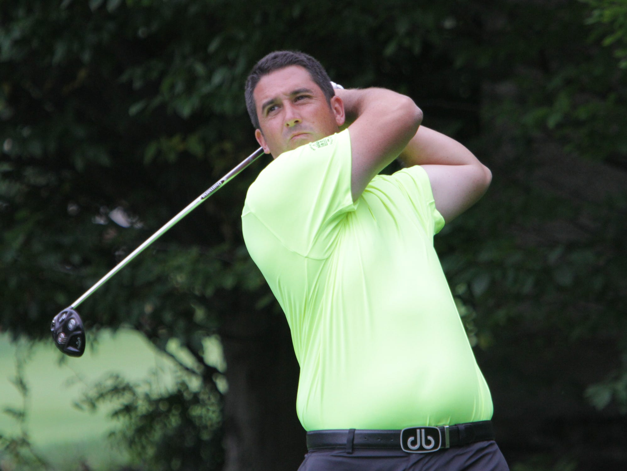 Anthony Casalino tees from the first hole during the second round of the Met PGA Championship at Fenway Golf Club Sept.30, 2015.
