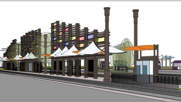 A rendering of the planned Gilbert Road light rail station in Mesa.