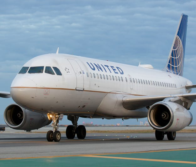 A United Airlines Airbus A319 taxies to a gate after landing at San Francisco International Airport in October 2016.