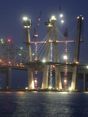 Cables are hung from the westbound main span of the