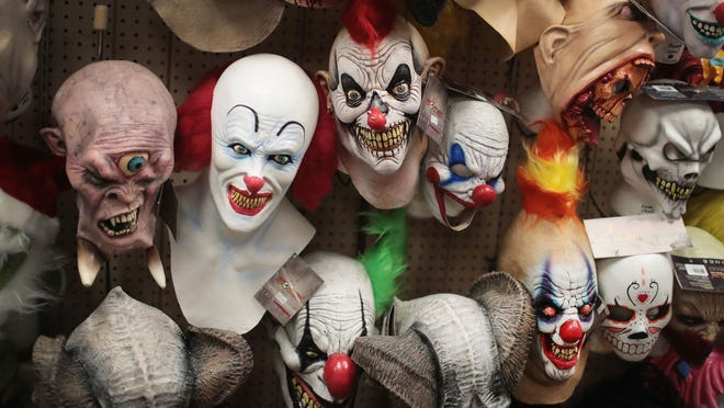 CHICAGO, IL - OCTOBER 19:  Halloween masks are offered for sale at Fantasy Costumes on October 19, 2016 in Chicago, Illinois.  Although at least one major retailer has removed creepy clown costumes from their store shelves in the wake of negative news stories, Fantasy Costumes said they are one of this season's biggest sellers.  (Photo by Scott Olson/Getty Images)