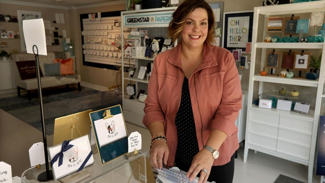 Lynda Junge, owner of Greenstar Paperie, at her shop in Downers Grove, Illinois, on Sept. 25.