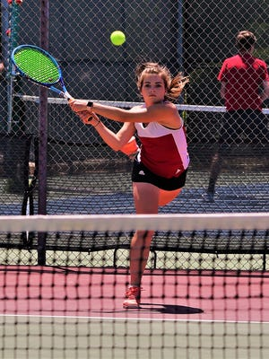 Jim Ned's Jolie Branch hits a backhand during the Region I-3A tennis tournament at Rose Park Tennis Center on Thursday, April, 19, 2018.