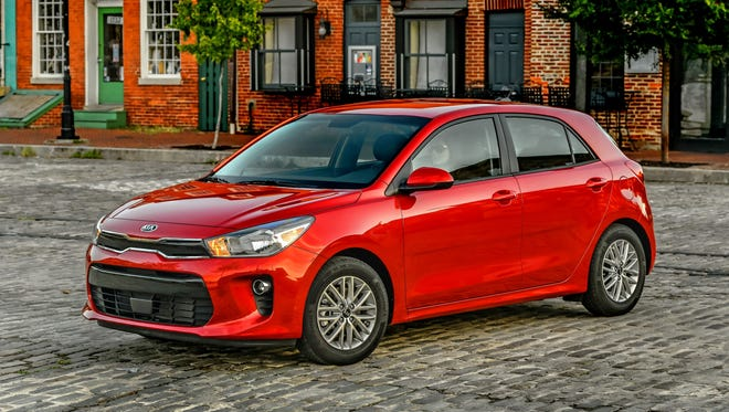 This photo provided by Kia shows the 2018 Kia Rio, which has been completely redesigned. The Rio features mature design, sporty handling, and a range of trim levels from budget-minded to full-featured.