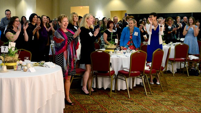 The crowd gives Doris Kearns Goodwin a standing ovation  following her speech during the Community Foundation of Western North Carolina's 13th annual Power of the Purse luncheon at the Crowne Plaza Resort on May 23.
