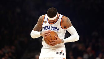 The Knicks were eliminated from postseason contention on Wednesday night after a 105-88 loss to the Miami Heat at Madison Square Garden on Wednesday, March 29, 2017. Afterward, in a wide-ranging and convoluted interview, Knicks star Carmelo Anthony — who scored only nine points, zero before halftime — sounded fed up with the situation.