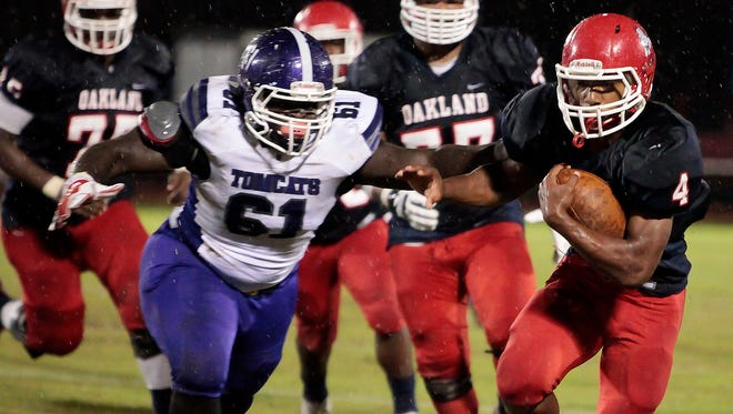 Lazarius Patterson scored four touchdowns in Oakland's 49-6 win over Haywood on Friday night.
