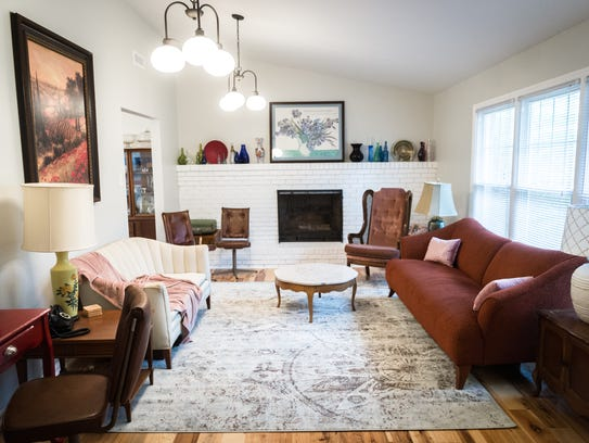 The living room in the home of Davida Falk and Grace