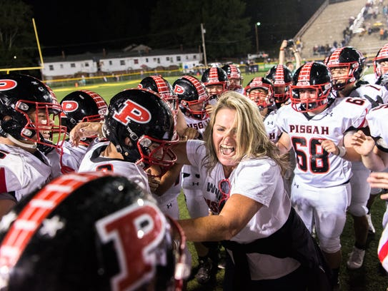 Pisgah high school principal Jill Barker celebrates