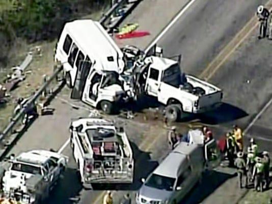 12 killed, 3 hurt when church bus and truck crash in Texas