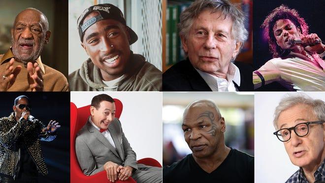 Clockwise, from top left: Bill Cosby, Tupac Shakur, Roman Polanski, Michael Jackson, Woody Allen, Mike Tyson, Paul Reubens, R. Kelly.
