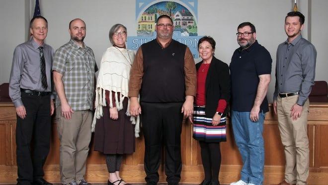 From left, Silverton City Council members Jim Sears, Matt Plummer, Dana Smith, Kyle Palmer, Laurie Carter, Jason Freilinger and Rhett Martin.