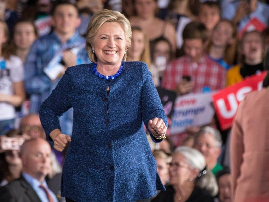 Democratic presidential candidate Hillary Clinton dances