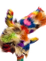 Artist Nick Cave is renowned for creating soundsuits like this one, which serve as costumes for dancers in performance art and also as still sculpture art in museums.