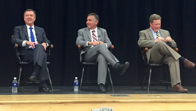 Franklin Special School District Director of Schools David Snowden, far left, Williamson County Director of Schools Mike Looney, and Battle Ground Academy Headmaster Will Kesler talk abut their schools' challenges and successes at the State of the Schools on Tues. Aug. 15 at Battle Ground Academy.