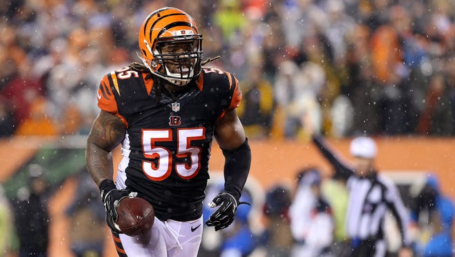 Cincinnati Bengals outside linebacker Vontaze Burfict (55) reacts after sacking Pittsburgh Steelers quarterback Ben Roethlisberger (7) during the third quarter in the AFC Wild Card playoff football game at Paul Brown Stadium.