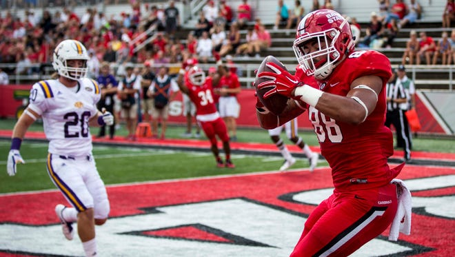 Ball State's tight end Nolan Givan makes a touchdown catch Sept. 16 at Scheumann Stadium during their game against Tennessee Tech.