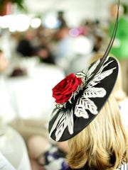 A fancy hat on display at a previous Kentucky Derby party at Ellis Park.