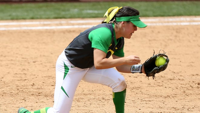 Oregon's Danica Mercado fields the ball against North Carolina State on May 23, 2015, in Eugene. The 2017 Ducks won their Pac-12 opener against California on Friday.