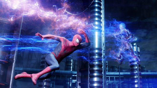 Spider-Man (Andrew Garfield) faces his greatest test to date when facing off against lightning-slinging supervillain Electro (Jamie Foxx) in 'The Amazing Spider-Man 2.'