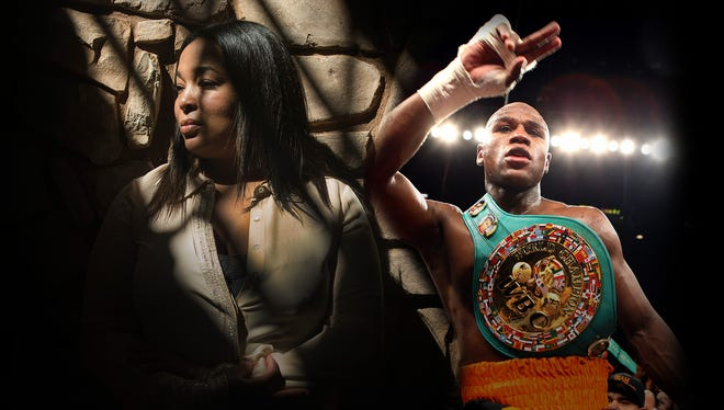 Josie Harris, left, and Floyd Mayweather.