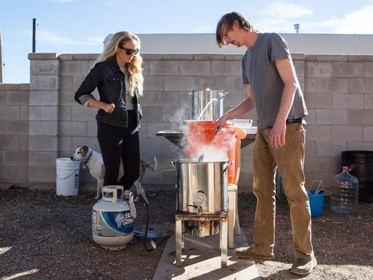 Meg Gill with Andy Lane, a Santa Fe-based home-brewer