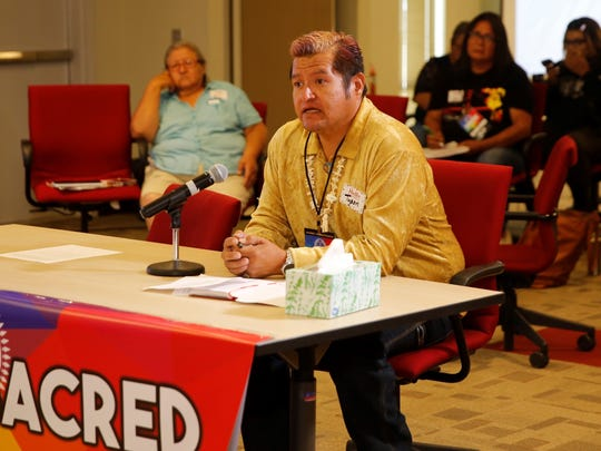 Tyson King, center, provided his comments during the LGBTQ Community Listening Session at the Diné Pride symposium on Friday at the Navajo Division of Transportation in Tsé Bonito.