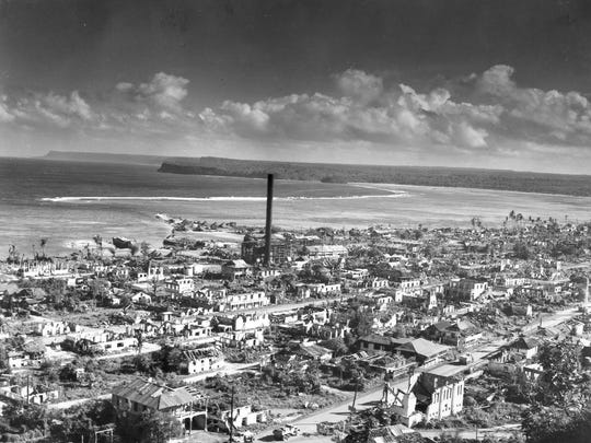 Downtown Hagatna, then known as Agana, is shown in this photograph taken after the war. Widespread destruction, dispersal of the population and redrawing of property boundaries by the American forces changed the character of the capital.
