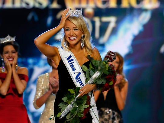 Miss Arkansa Savvy Shields reacts after being named