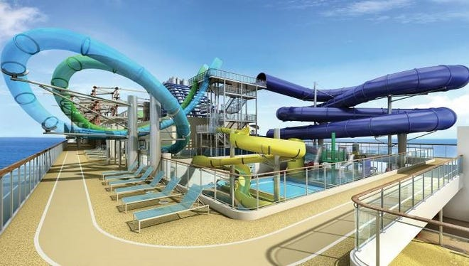 An artist's drawing of the Aqua Park planned for Norwegian Cruise Line's soon-to-debut Norwegian Escape.