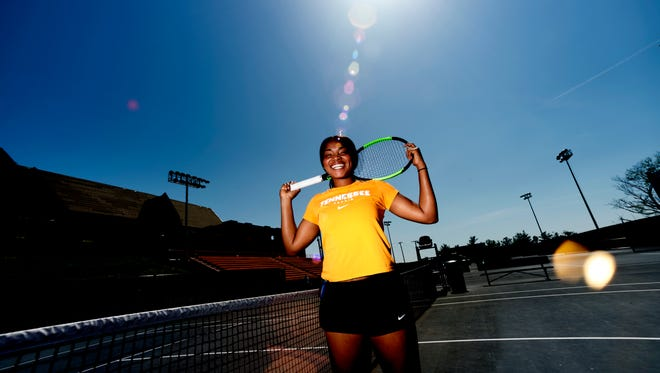 Tennessee junior tennis player Elizabeth Profit poses for a photo at the Goodfriend Tennis Center at the University of Tennessee in Knoxville, Tennessee on Friday, April 13, 2018.