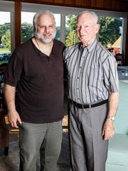 "Bill Christ poses for a photograph with his Uncle Joe, who turned 90 last October. Grandson of T.J. Collins, J. Joseph Johnson worked for the family's architectural firm T.J. Collins & Sons from 1950 until his retirement in 2006. ""My Uncle Joe was the last architect and the doors shut when he retired,"" says Christ."