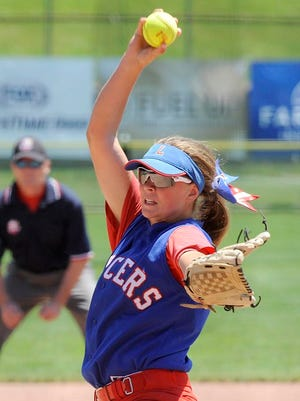 Lakewood sophomore Courtney Vierstra pitches against Granville in the Division II state softball championship. The Blue Aces defeated the Panthers 2-1.