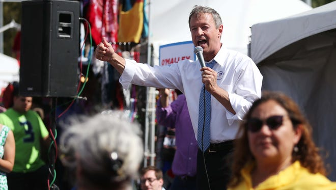 Martin O'Malley campaigns at Iowa's Latino Heritage Festival on Sunday, Sept. 27, 2015 in downtown Des Moines.