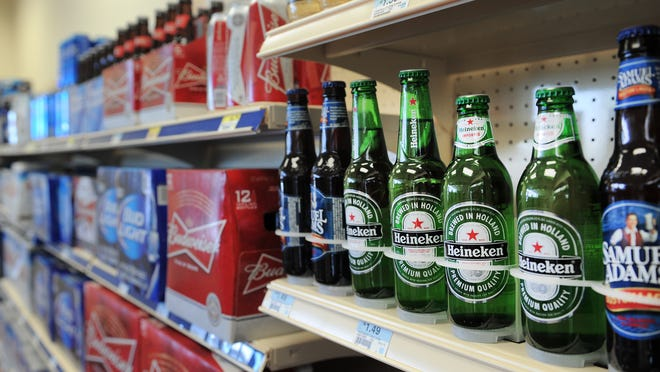 Warm beer sits on the shelves of the Rickers at 116th Street and Cumberland Road in Fishers.