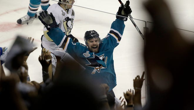 San Jose Sharks right winger Joonas Donskoi celebrates after scoring the winning goal against the Pittsburgh Penguins during overtime of Game 3 of the Stanley Cup Finals in San Jose, Calif., on June 4. The Sharks won 3-2.