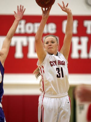 City High's Courtney Joens takes a shot during the Little Hawks' Class 5A regional final against Johnston on Tuesday, Feb. 24, 2015. City High lost, 57-46.