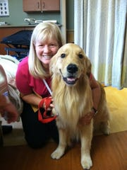 Kathy Rademacher with Sam during a therapy visit, said