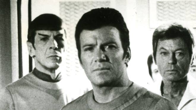 Stephen Collins, left, Leonard Nimoy, William Shatner and DeForest Kelley in the first of many, many 'Star Trek' films.