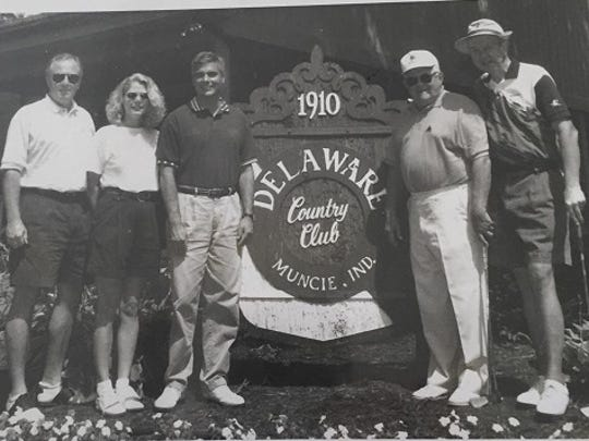 Bob Crouch (second from right) at the David McIntosh Congressional Golf Outing in 1997, the year Crouch hung up his golf clubs.