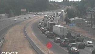 Delays on Interstate 5 stretch back to Market Street NE.
