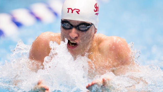 Ian Finnerty of Indiana University, competes in his team's fifth place effort in the 400 yard medley relay, NCAA Men's Division 1 Swimming and Diving Championships, Thursday, March 23, 2017.