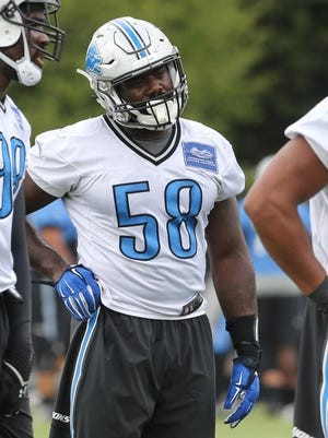 Detroit Lions defensive end Phillip Hunt goes through drills on Wednesday, August 26, 2015 at the practice facility in Allen Park Michigan.